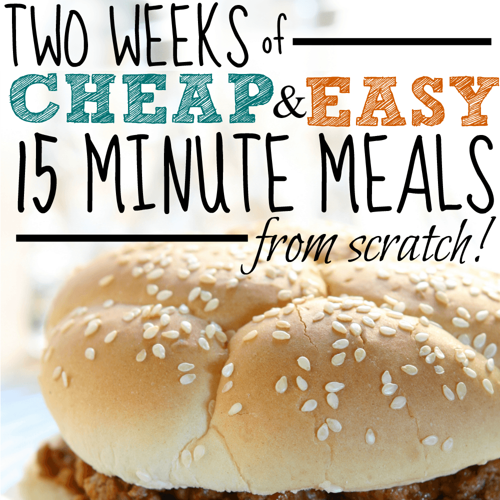Two weeks of cheap and easy 15 minute meals from scratch!