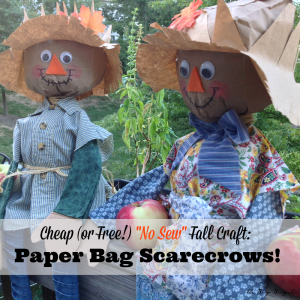 """A Cheap and Easy Fall Craft! """"No Sew"""" Paper Bag Scarecrows!"""
