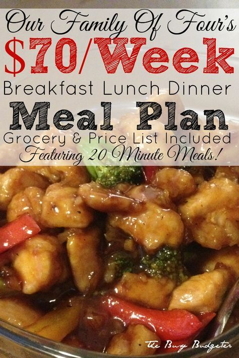 Our 70 Week Meal Plan For A Family Of Four Of 20 Minute Meals