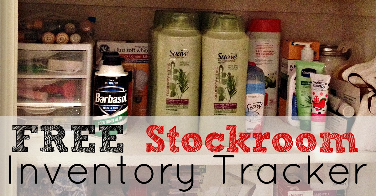 Free Home Stockroom Inventory Tracker! I use this program to save over $1,000 a year plus a ton of time! No more trudging to target with three screaming kids for me!