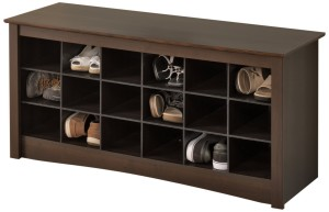 Prepac shoe storage cubby bench via Amazon.