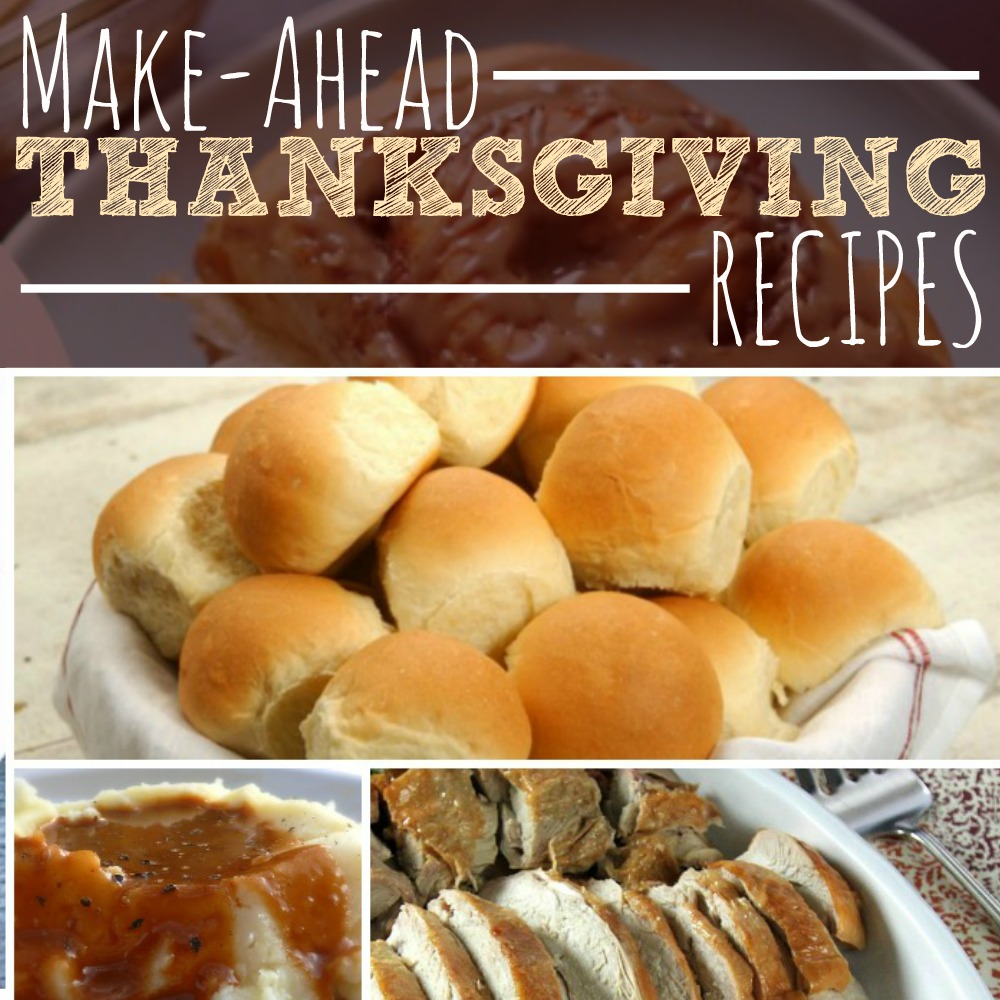 Great Make-Ahead Side Dishes Cut the holiday stress by prepping a few side dishes ahead of time. Just stash them in the freezer, and you'll have even more to be thankful for on Thanksgiving.