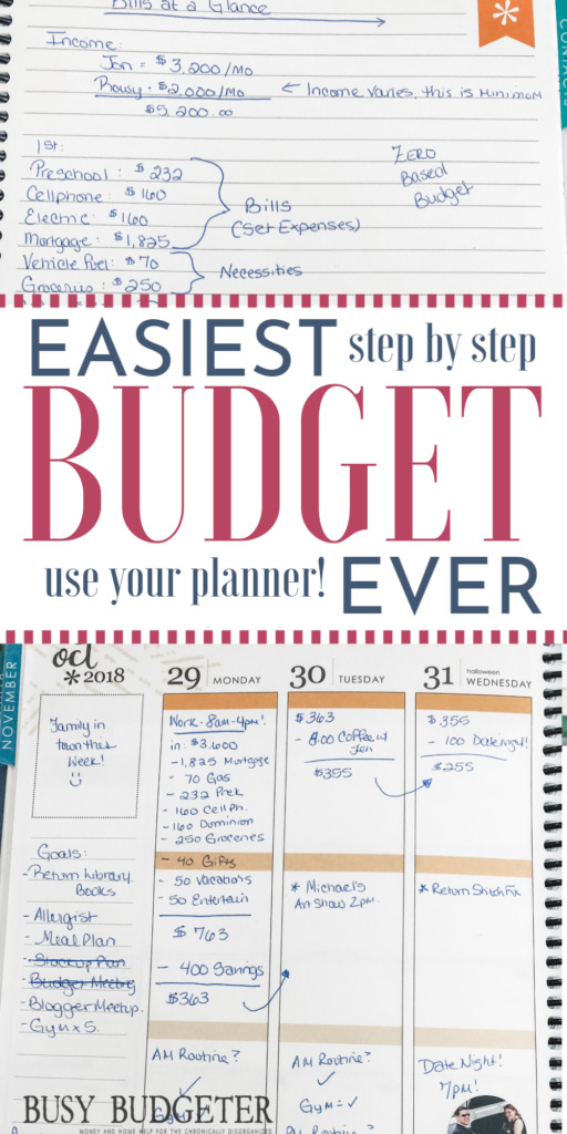 """an erin condren planner filled out with a monthly and weekly budget for tracking. Words say on the photo"""" """"East Budget Ever! Step by Step and Use Your Planner!"""""""
