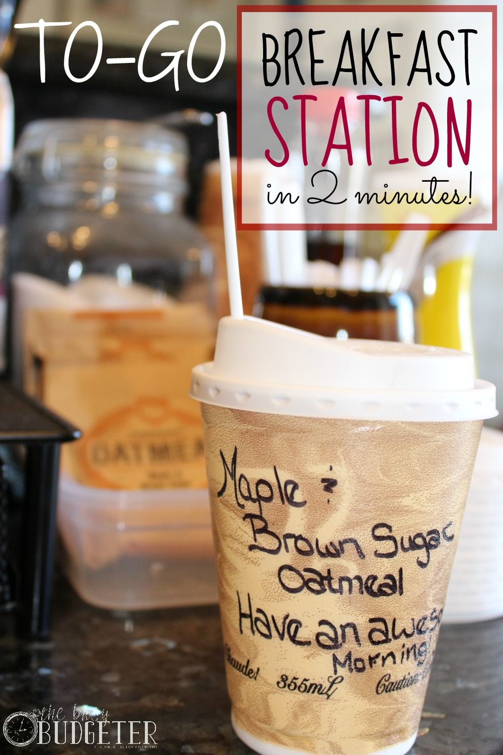 To-Go Oatmeal Station in Less Than 2 minutes. SO EXCITED ABOUT THIS! I've ended up in the fast food drive thru 4x last week! This was exactly what I needed to save money and make mornings easier!