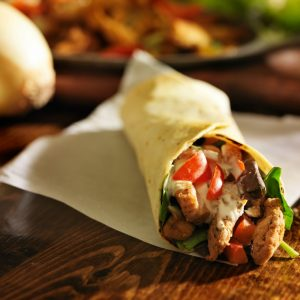 spicy chicken wrap shot in panorama