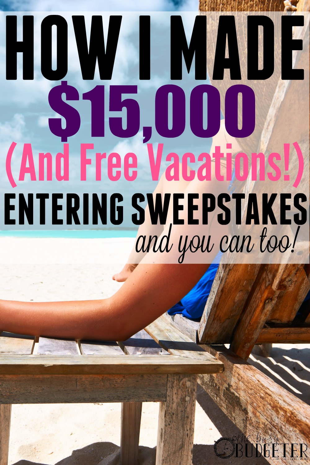 How I made $15,000 and free vacations entering sweepstakes and you can too! OMG! This is insane! A dozen vacations and that much money from a sweepstakes hobby?! (I didn't even know entering sweepstakes was a hobby!) And I am over here spending $100/month on craft supplies. Fail. What a great idea to make extra money with a hobby!
