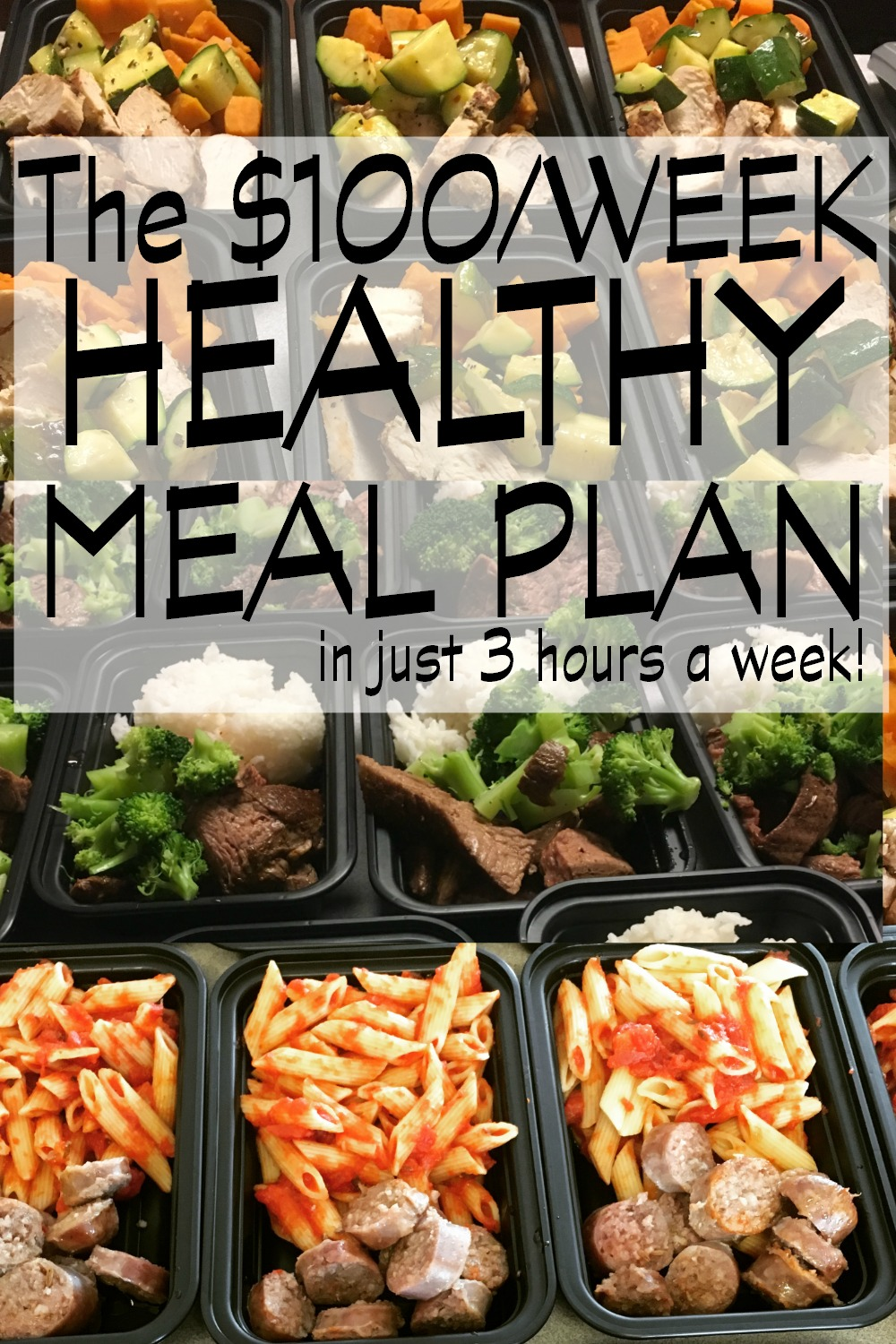 How to Make 74 Healthy Freezer Meals at Home in 3 Hours. We were looking for a cheap easy healthy meal plan and this was so much better than I could have hoped for. We spent 6 hours last week and made two weeks worth of meals and we're halfway through them. I lost 5 pounds, wasn't hungry but more importantly, meals became so easy! Hubby grabs a container out the door and throws his container out at work, At dinner, we heat and eat- ready to roll in 6 minutes! This was the best idea ever! - Super grateful busy mom