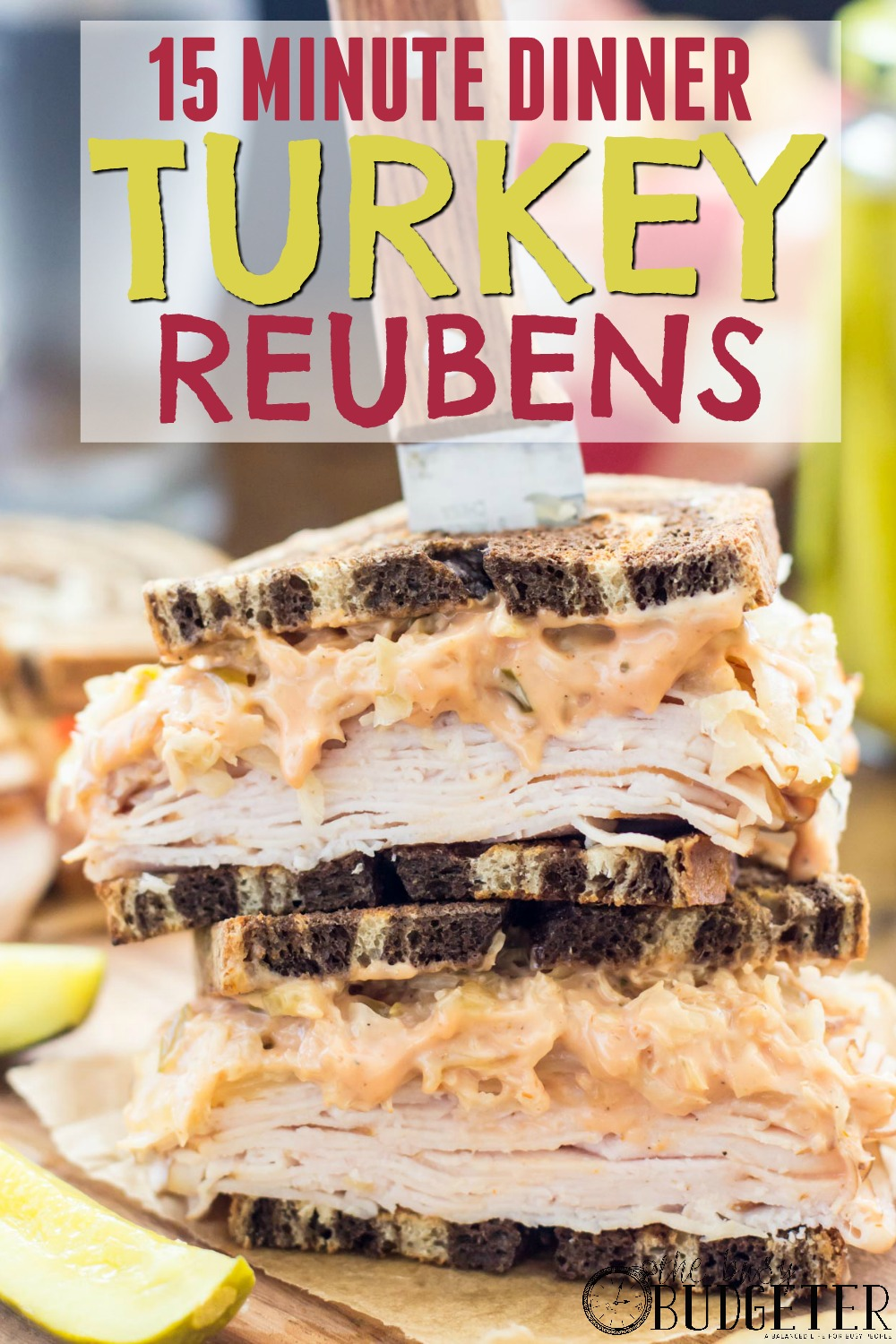 Turkey Reubens - Dinner in 15 minutes! Turkey Rueben sandwiches are our go to meal for quick and easy cheap dinners! Quick dinner recipes are a must in a house of 6 kids!