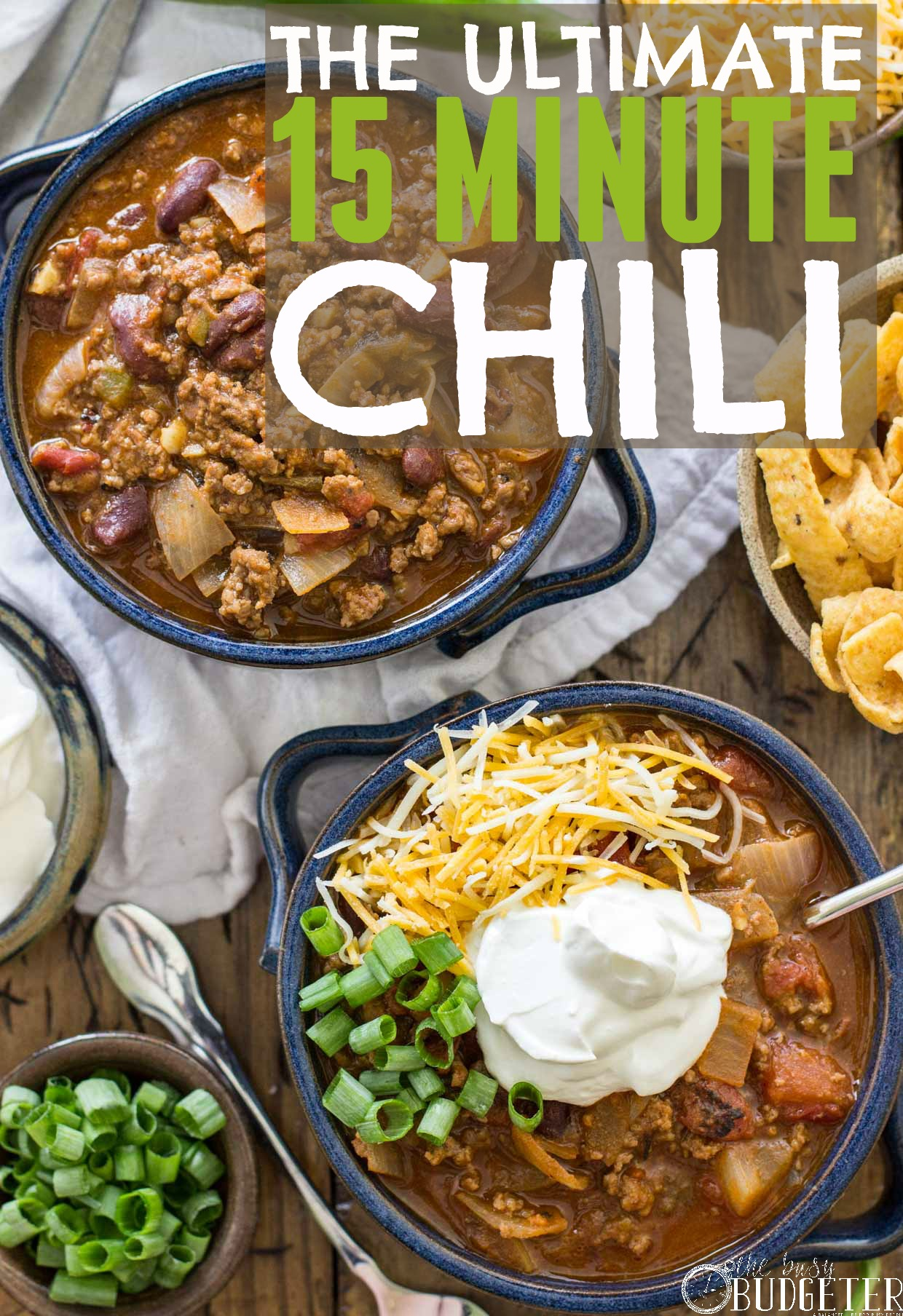 15 Minute Chili Recipe. I'm always looking for quick dinners and easy recipes. We made this tonight and it took just about 15 minutes. She's got a whole series of 15 minute meals that we love!
