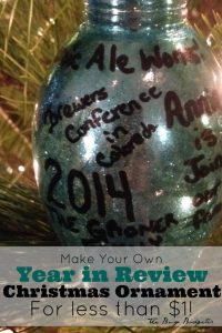 An easy ornament to make for less than a dollar! www.busybudgeter.com