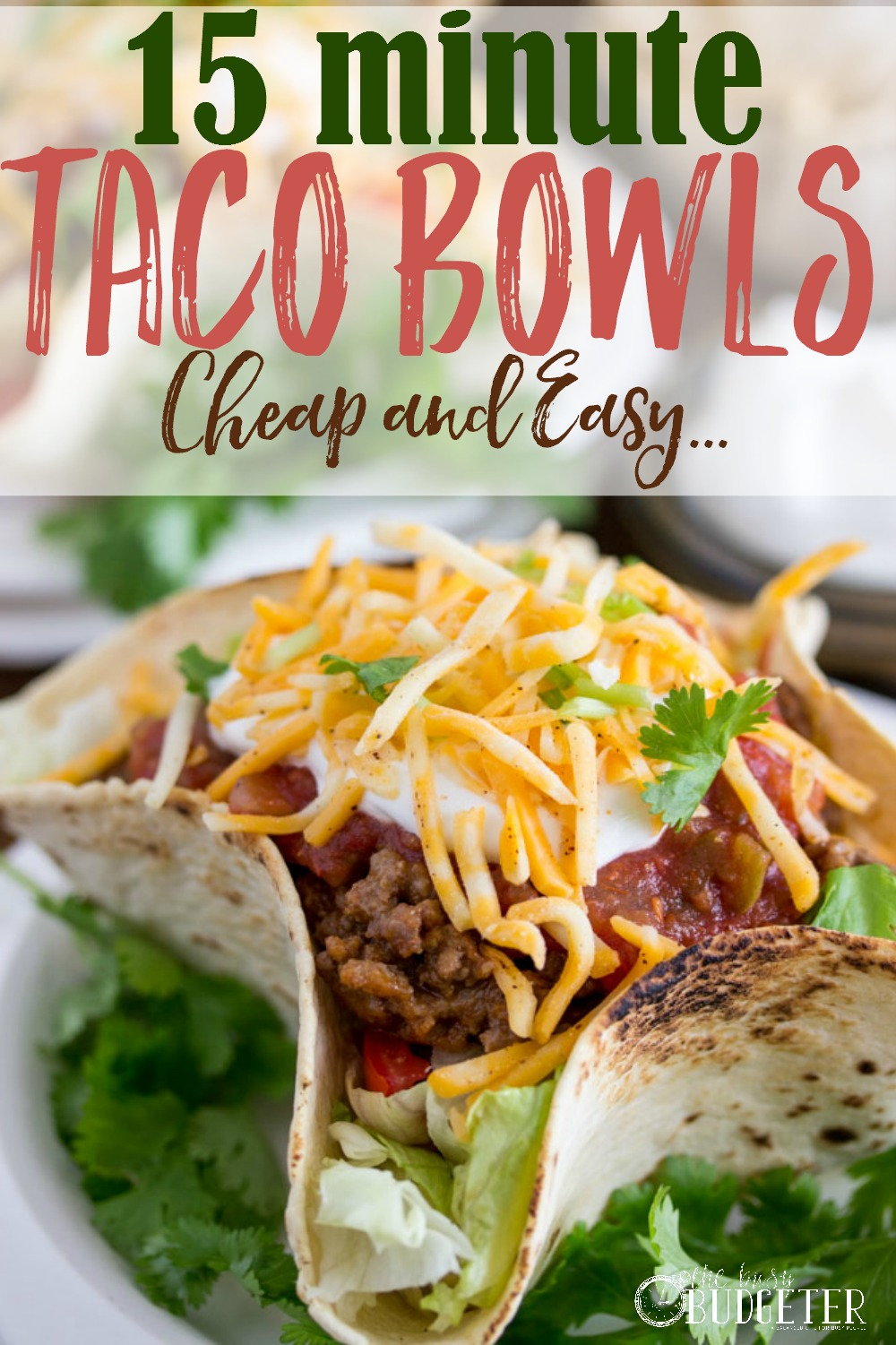 15-minute-taco-bowls- Thank you for this amazing taco bowl recipe that my kids went crazy over! And they were ready and on the table in 15 minutes!