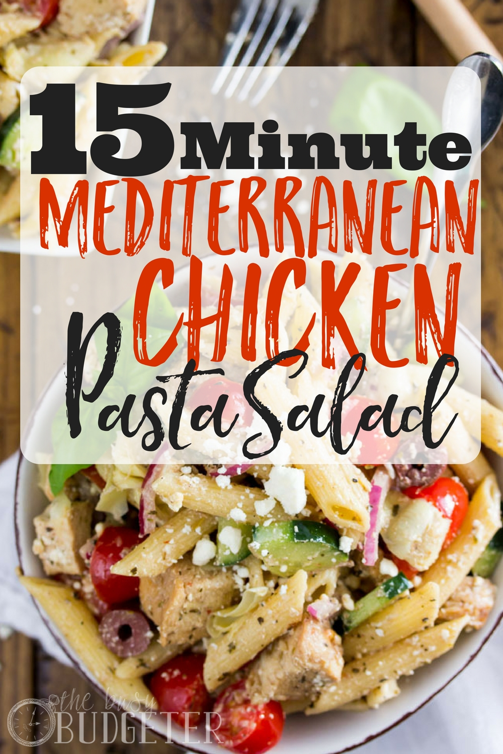This Mediterranean Chicken Pasta Salad is simple to make -- only 15 minutes to throw together thanks to pre-cooked frozen chicken breast! Made with fresh veggies, feta cheese and a simple homemade dressing, this pasta salad is an explosion of flavors that's sure to delight your tastebuds. Mediterranean Chicken Pasta Salad I brought this Mediterranean Chicken Pasta Salad to a potluck last weekend and not a single person left without asking me for the recipe. That might sound like an exaggeration, but it's not. Literally everyone wanted the recipe. The giant Rubbermaid container that I brought might as well have been licked clean, there wasn't a crumble of feta left in the place. I'm not trying to brag, this pasta salad is just that good. It's made with pre-cooked frozen chicken breast, fresh veggies, and a homemade salad dressing that is as delicious as it is simple. So let's walk through the steps so that you can get off the computer and get to making your very own batch of Mediterranean Chicken Pasta Salad.