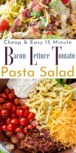 Bowl with segmented sections of roamaine lettuce, bacon, mayonnaise based white dressing, bacon, cheese, and grape tomatoes with a written title of Cheap and Easy 15 Minute Meal BLT Pasta Salad