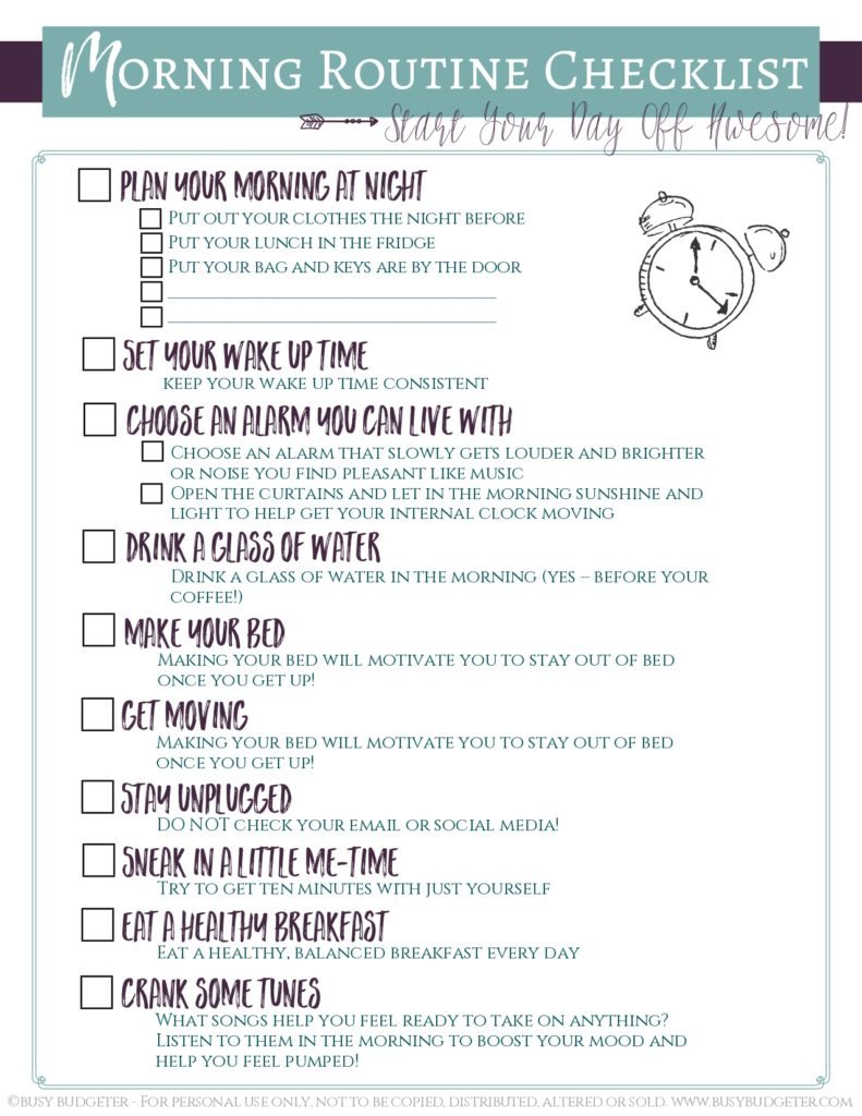 morning routine checklist for adults