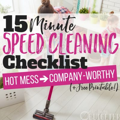 I HATE cleaning!! Seriously, it's the last thing I want to do!! But you know what? If I can tell myself it's only 15 minutes to clean my WHOLE house- it's a whole lot less of a chore and let me tell you-it actually only took 15 minutes!! The speed cleaning checklist that came with it is awesome and helps me stay organized (and motivated) which is a huge win!