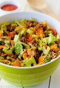 Nothing quite like the flavorful crunch of Doritos in your salad! This taco salad is one of my favorite easy salad recipes to whip up that my kids LOVE. Yes - my kids LOVE this salad! That right there is a testament to it's deliciousness!