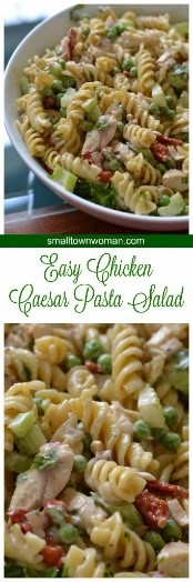 Easy salad recipes are great to have on hand in the summer months. Try this chicken Caesar pasta salad for a fresh and delicious side to your next backyard party.