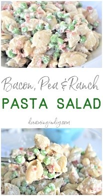 When it comes to easy salad recipes, you can't get much easier than a recipe that takes little to no effort to pull together! This bacon, pea, and ranch pasta salad is delicious, easy, and perfect for a summer salad.