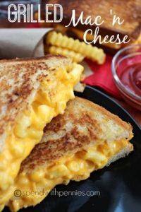 Cheese overload! Is there such a thing as too much cheese? Mac and cheese makes a great addition to the classic, easy grilled cheese sandwich. Take it up a few notches! This post has a ton of easy grilled cheese recipes!