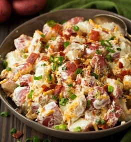 Looking for easy salad recipes, but not into leafy greens? This bacon and cheddar potato salad is perfect! Whip it together for your next backyard BBQ or for a potluck, it will please the whole party.