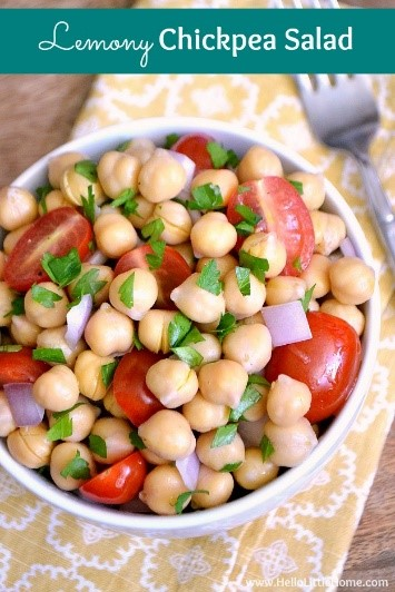 Add this lemon chickpea salad to you list of easy salad recipes - seriously! It's not only delicious and fresh but healthy too! What's not to love?