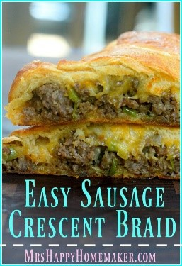 I was looking for easy recipes for dinner but was excited when I found this sausage braid recipe! Actually super easy to make and it would be great for brunch too!