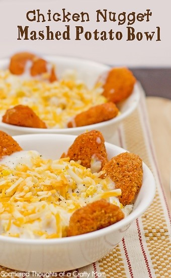 Need some kid-friendly easy recipes for dinner? Heck - even adults will love this chicken nuggets and mashed potato bowl recipe!