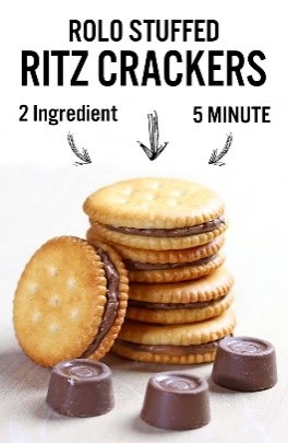 Chocolate is my guilty pleasure when it comes to snack foods. It might not be the healthiest, but these Rolo-stuffed Ritz crackers are the perfect little indulgence on a diet.