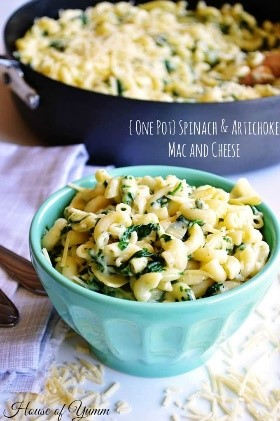 Spinach and artichoke dip is my favorite appetizer at restaurants, and mac and cheese is one of my favorite foods! This combination is SO much better than a basic mac and cheese recipe! And it's so easy to make!