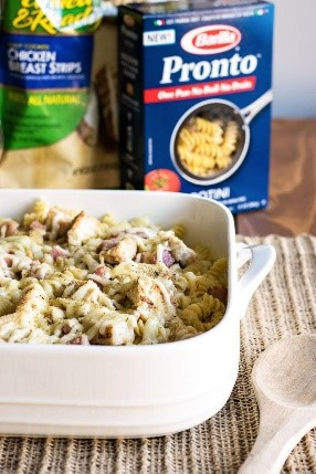 Chicken cordon bleu sounds like a fancy dinner that my family wouldn't love but add some pasta and frozen pre-cooked chicken and we've got a winning pasta!