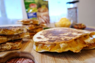 My kids love these quesadillas! It's a great afternoon snack, and super easy to make if you have some frozen pre-cooked chicken on hand. Try it out!