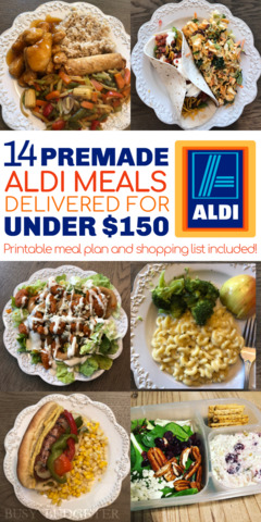 Easy orange chicken, pork carnitas tacos, buffalo chicken salad, macaroni and cheese, grilled italian sausage sandwiches, and cranberry chicken salad and crackers as one of the easy dinners in the easiest Aldi meal plan, which delivers 14 dinners to your front door for under $150.