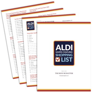 A printable Easy Aldi Meal Plan that gives you fourteen dinners delivered to your door from Aldi that can be made in fifteen minutes or less for under $150. Perfect for busy families struggling with meal planning and a hectic schedule.