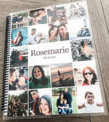 "Custom photo cover for an Erin Condren life planner. This cover has the name ""Rosemarie Groner"" on it with 18 small photos of Rosemarie's family and life. The cover is a life planner cover."