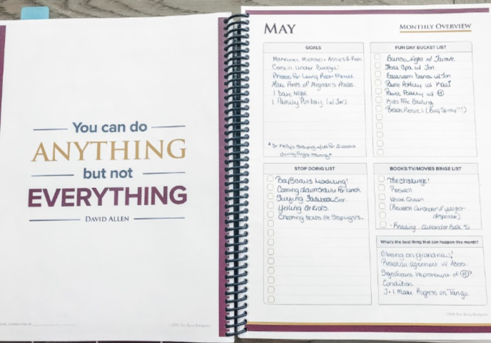 Monthly overview planning pages in the best life planner for adhd