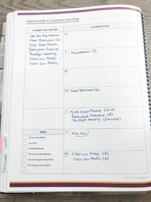 Simplified cleaning system in the best planner for adhd - home success planner