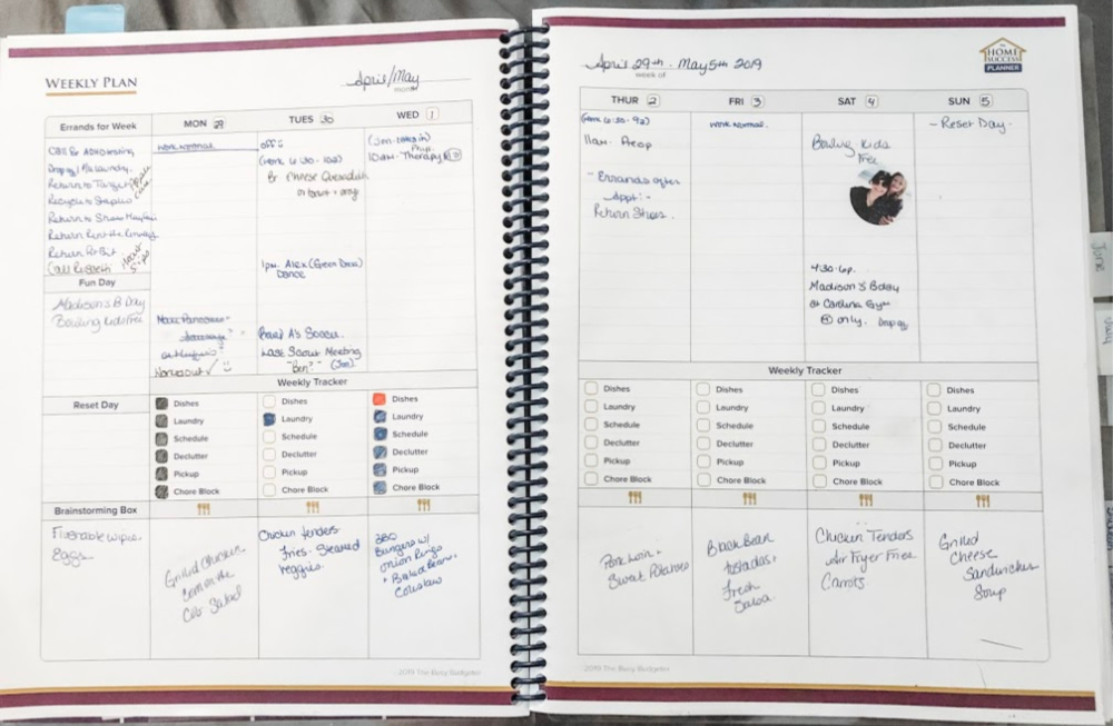 Weekly spread in the best planner for adhd