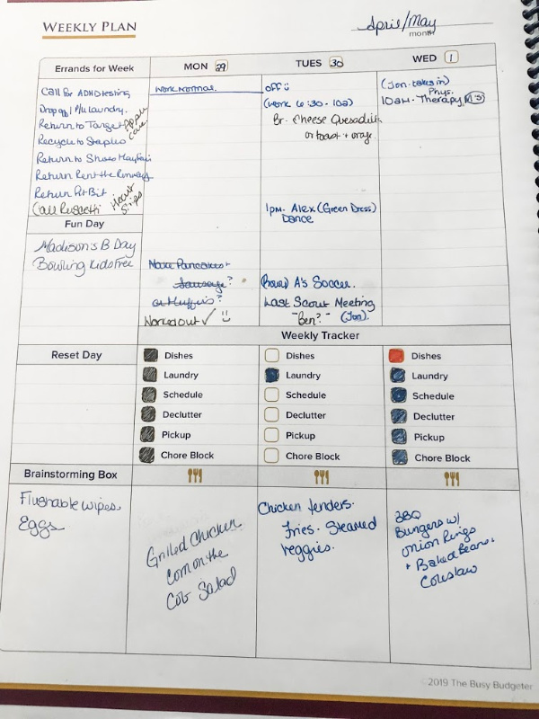 Weekly plan in the best planner for adhd
