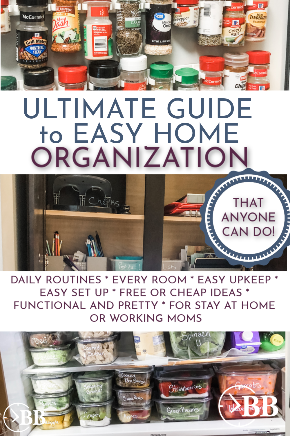 Home organization ideas that actually work. Whether you're looking to declutter the living room, bedroom, bathroom, kitchen, closet, office or laundry room this post has the hacks and the inspiration you need to get it done. These DIY ideas work especially well when you are on a budget and will give you tips and solutions for every area of your home.