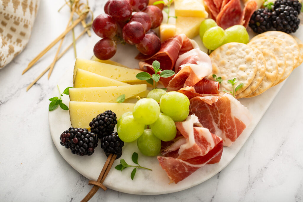 Charcuterie board with a variety of cheese and meats