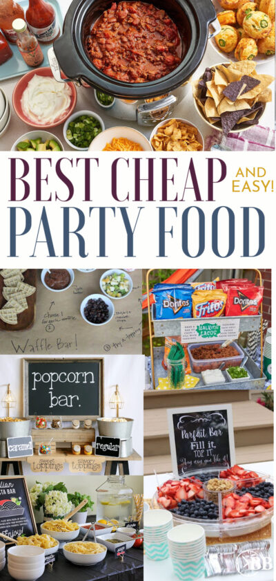 Collage of cheap and easy party food. Waffl bar, popcorn bar, walking tacos, and parfait bar ideas