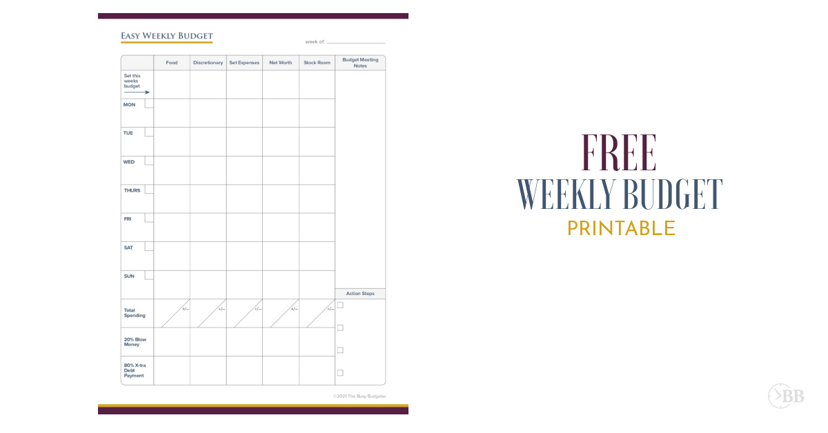 Easy weekly budget printable.
