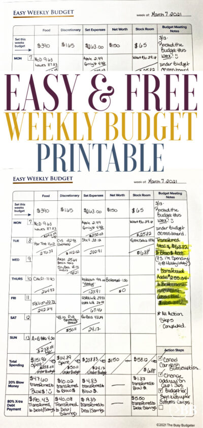 The free weekly budget printable filled out with a real budget.