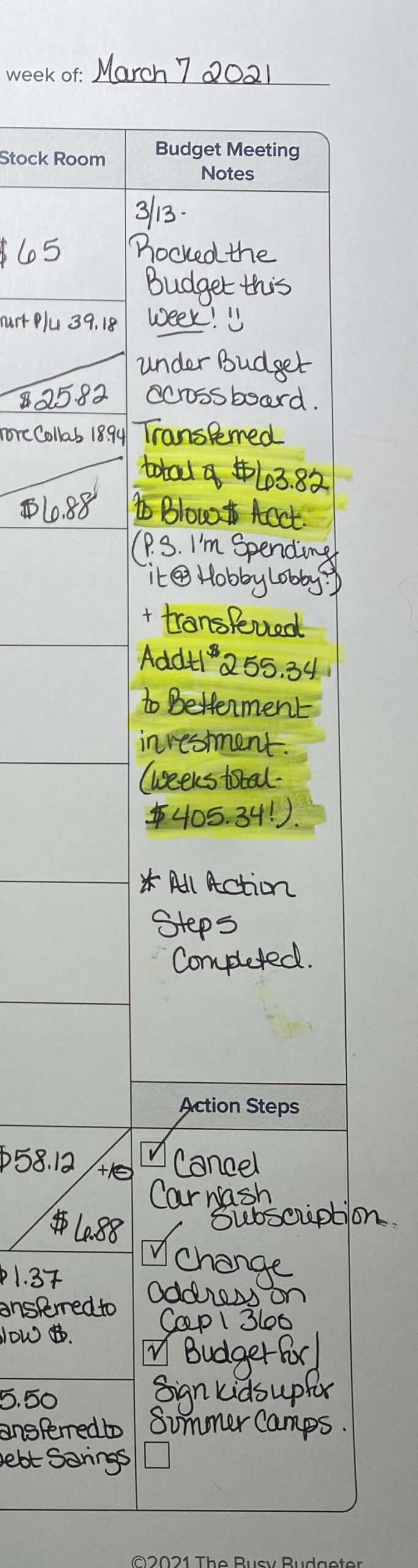 Easy Weekly Budget- Budget meetings and actions step sections.