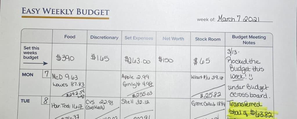 Easy Weekly Budget Printable