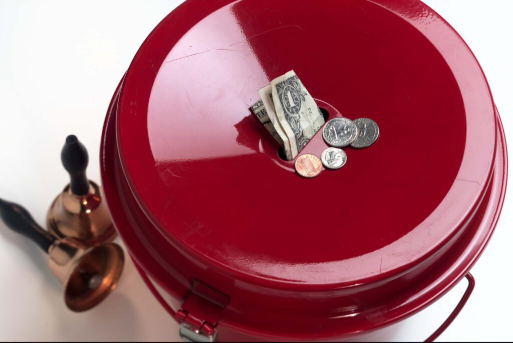 salvation army red collection with money