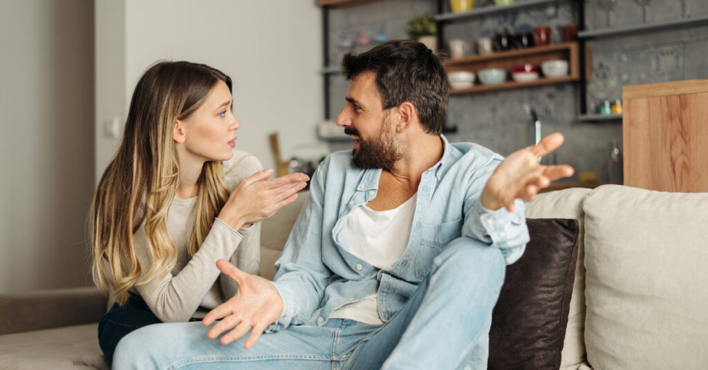 couple arguing over family chore chart
