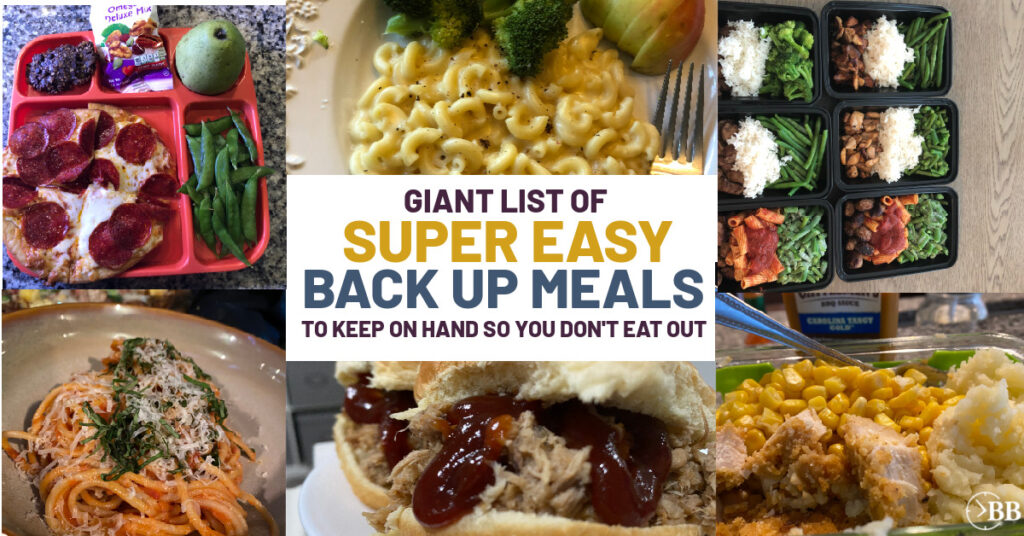 Macaroni and cheese, pulled pork sandwiches, back up freezer meals.