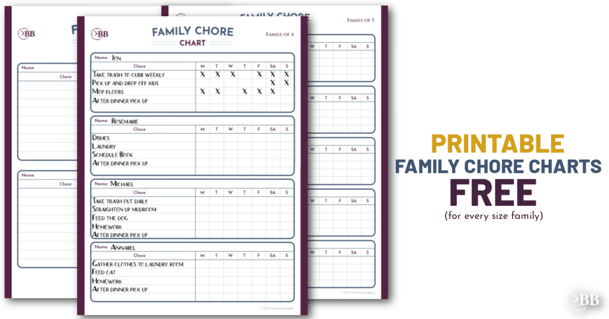 Image of the free family chore chart
