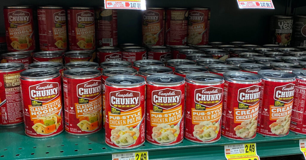 Back up meal canned soup on a store shelf